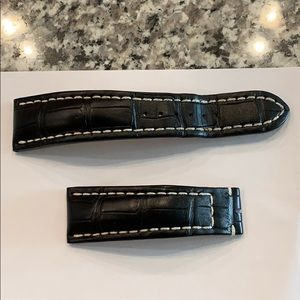 Breitling black crocodile strap for tang buckle